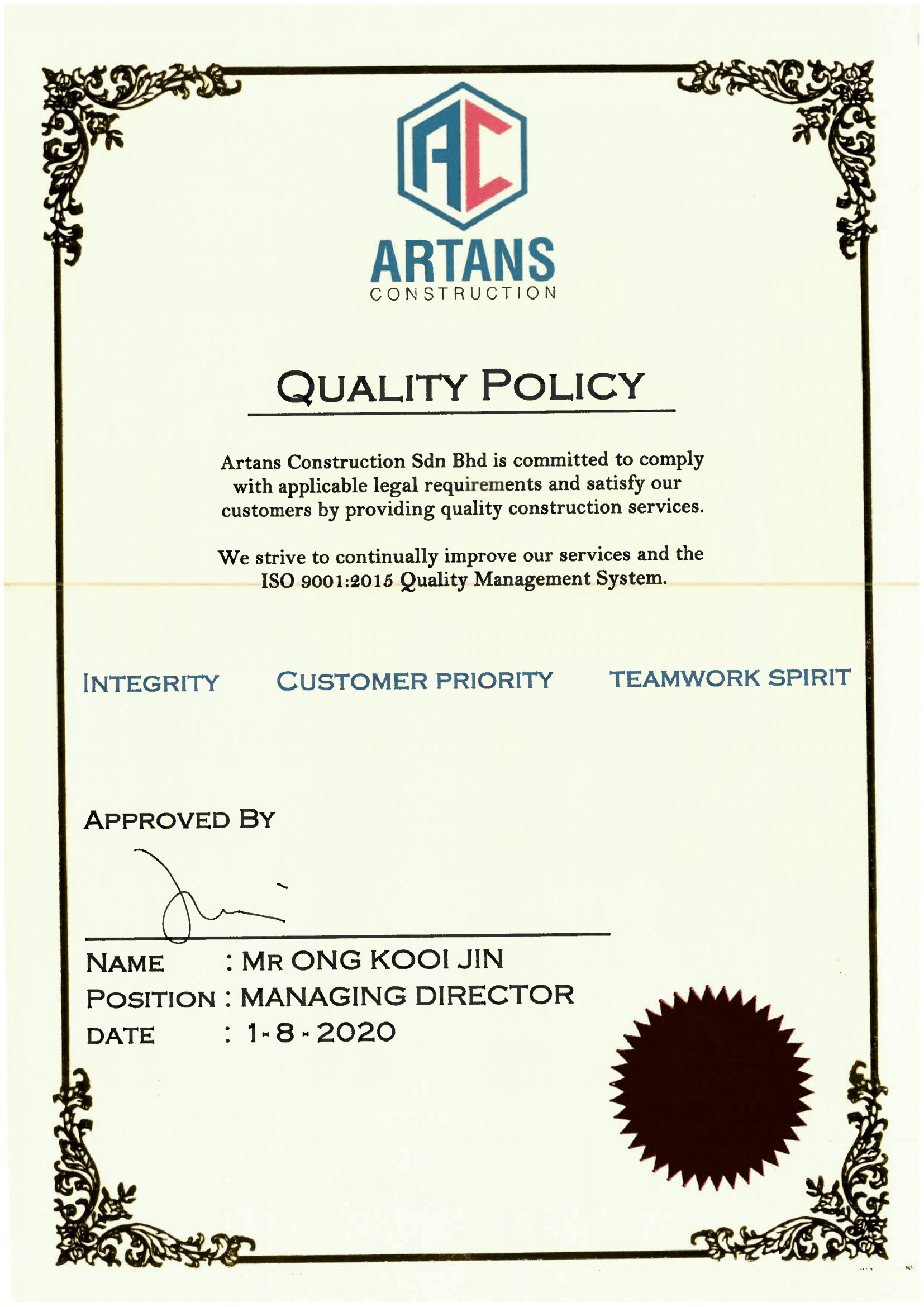 ISO 9001:2015 - Quality Policy